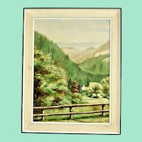 Landscape from the Black Forest mountains, painting in vintage oil on wood
