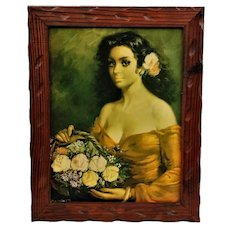 Oil painting Captivating portrait of Andalusian lady on plywood