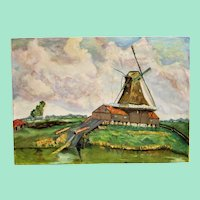 Windmill. Landscape painting in oil on canvas.