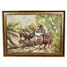 Landscape painting in oil on canvas.   Horses on the way home.