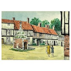 The Pump House Common Place Little Walsingham Norfolk UK, vintage lithograph