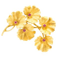 Tiffany & Co. 18 Karat Gold and Ruby Leaves Brooch, circa 1950s