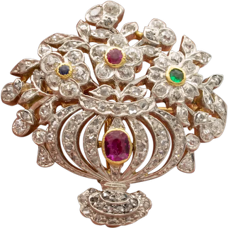 Edwardian Giardinetti Pendant-Pin in Platinum and 18 Karat Gold, circa 1905