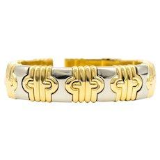 Flexible Vintage 18K two tone Gold Bangle Bracelet