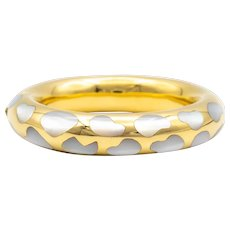 Tiffany & Co by Angela Cummings Mother of Pearl Bombe Bangle Bracelet in 18K Gold