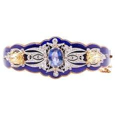 Victorian Royal Blue Enamel Bangle with AGL 3.48 Burma No-Heat Sapphire
