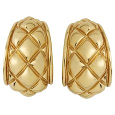 Chaumet 18 Karat Gold Quilted Half-Hoop Earrings