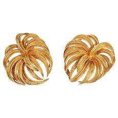 Palm Frond 18 Karat Gold Earrings, circa 1950s