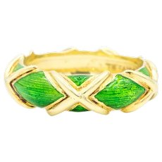 Schlumberger for Tiffany & Co. 18k Gold 'X' and Green Enamel design. Circa 1960's
