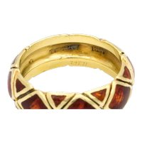 Schlumberger for Tiffany & Co. 18k Gold and Red Enamel ring , Circa 1960's -
