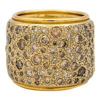 Pomellato wide band with natural champagne color diamonds 18K Gold