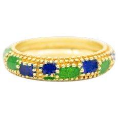 Cartier 18 Karat Gold Blue and Green Enamel Beaded Ring, Circa 1960's