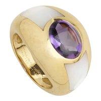 "Mauboussin ""Aloha"" Amethyst & M.O.P 18 Karat Gold Ring"