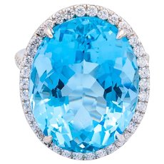 18.30ct Natural AGL Certified Blue Oval Aquamarine and Diamond Ring