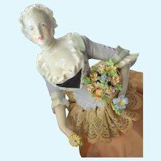 Rare German Porcelain Half Doll Lady Holding Dresden Flower Basket Boudoir Lamp