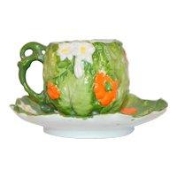 Ernst Wahliss Austrian Porcelain Majolica Demitasse Cup & Saucer Tomato Pattern
