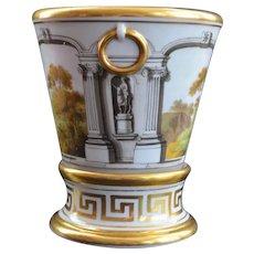 English Porcelain Cachepot Jardiniere Root Pot Landscape Scene