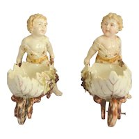 Volkstedt Thuringia Germany Eckert Porcelain Bisque Garden Cherubs Moving Wheels