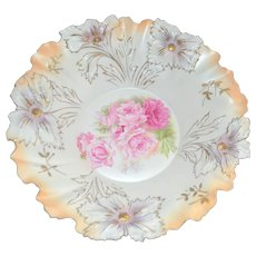 RS Prussia LARGE Bowl Carnations Satin Finish