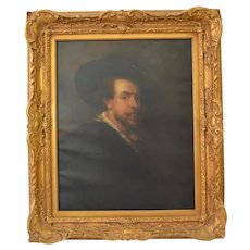 Oil Canvas Self Portrait with a Hat After Peter Paul Rubens Uffizi Seal