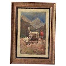 Artist Norton Bush (1834 – 1894) Signed NBUSH Oil on Board Peruvian Man with Llamas Mountain Landscape