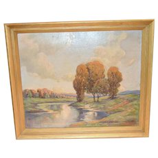 Mid Century Impressionist Landscape Oil on Board Titled The River Artist Signed Jacques