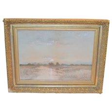 Watercolor Landscape Sunset 1800's California Artist A.T. Bazane Wood Carved Gold Gilt Frame