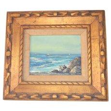 Mid Century Oil on Board Santa Monica California Artist M.Phillips Signed Exhibition Label