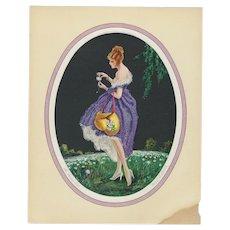 Marcel Le Boulte Signed Risqué Woman Art Deco Litho Print Titled The Daisies Tell