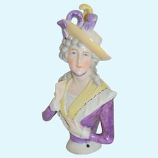 Porcelain Half Doll Woman in Plume Hat Foulds Freure