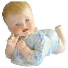Large Hertwig Bisque Piano Baby Figurine
