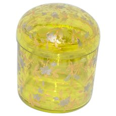 Bohemian Art Glass Covered Box Vanity Jar Enamel Gold Silver Decoration