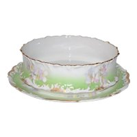 LIMOGES French Porcelain Center Serving Dish Pudding Bowl & Under Plate