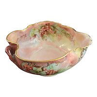 LIMOGES Porcelain Bowl Hand Painted Red Currants Branch Handle