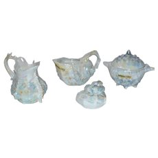 Royal Bayreuth Lusterware Spiky Murex Sea Shell 4 pc Set
