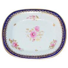 Coalport Oval Tray Teapot Stand Cobalt Blue Gold Pink Floral John Rose Period