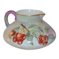 Limoges Porcelain Jean Pouyat Galois Style Pitcher Cherry Decor