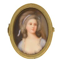 Miniature Porcelain Plaque Trinket Bronze Box Portrait of Grafin Sofia Potocka