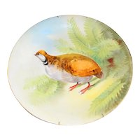 LIMOGES French Porcelain Charger Plate Game Bird Quail Plaque Artist Signed Lus