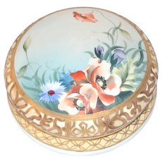 Hand Painted Dresser Jar Box Moriage Gold Poppies Nippon Porcelain
