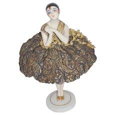 Art Deco Dressel Kister Pierrot / Pierrette Porcelain HALF DOLL Pin Cushion w/ Skull Cap on French Porcelain Leg Stand