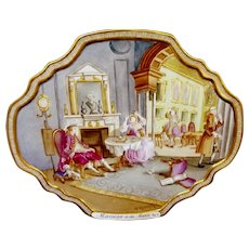 Painting on Porcelain Plaque Marriage A La Mode After Wlm Hogarth 19th Century