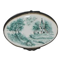 French Faience Sceaux Church Landscape Decorated Box