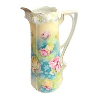 RS Prussia German Porcelain Tankard Pitcher Stipple Mold 525
