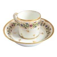 Paris Porcelain Demitasse Cup Saucer Set Le Petit Carrousel 18th C.