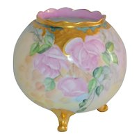 Austria Vienna Hand Painted Roses Footed Vase