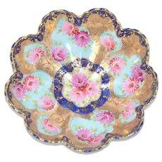 Japanese Porcelain Chrysanthemum Moriage Gold Encrusted Cobalt Scalloped Bowl