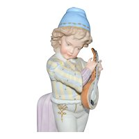 Bisque Paris Porcelain Sevres Style Boy Playing Mandolin Figurine