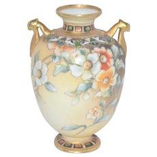 NIPPON Porcelain Morimura Cherry Blossom Moriage Vase