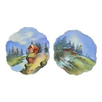 Limoges Artist Signed Cabin Lake Scenic Plates Set of Two (2)
